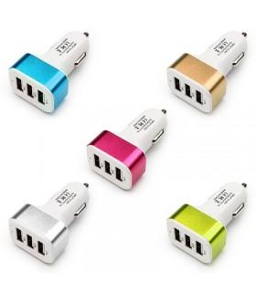Троен USB разклонител за запалка 2.1A 2A 1A