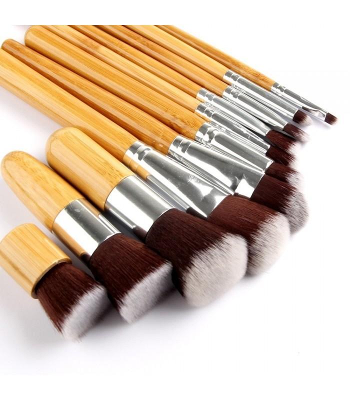 11бр. четки за грим с бамбукови дръжки - код 1574