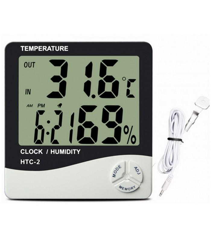 Термометър на външна и вътрешна температура с влагомер HTC-2