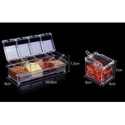 4бр. кутии за подправки с лъжички и стойка