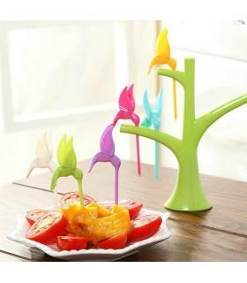 Сет клечки за хапки или плодове с поставка