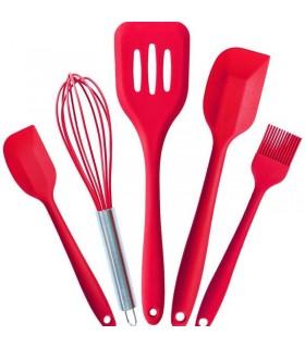 Силиконов кухненски комплект 5 части - червен