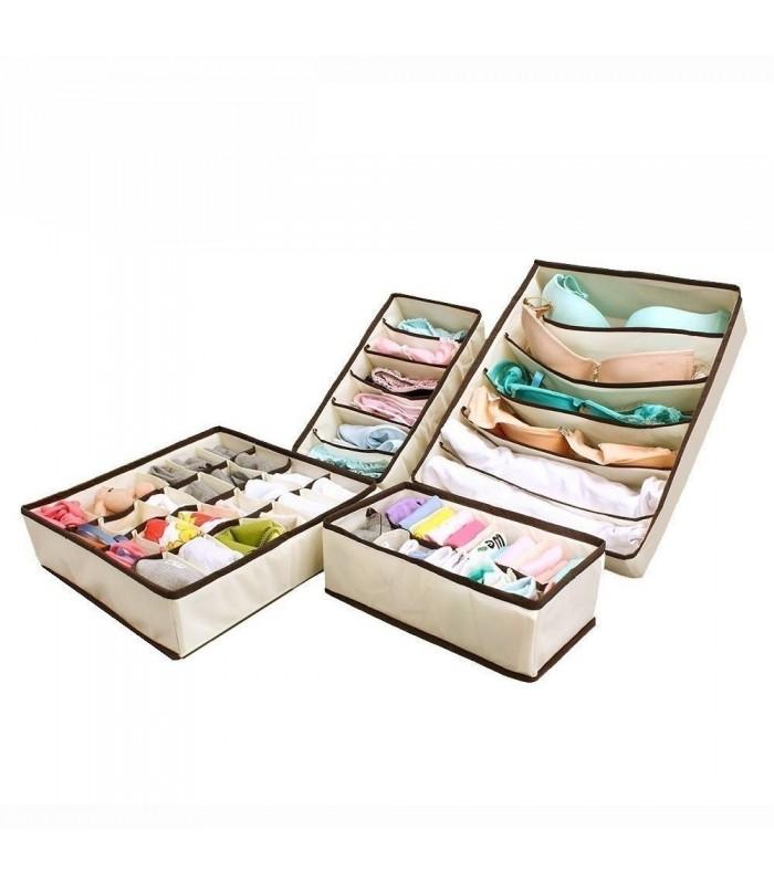 4бр. Сгъваеми органайзери за бельо, чорапи, сутиени и др.