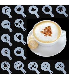 16бр. Шаблони за декорация на кафе, мляко и капучино
