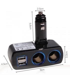 Двоен разклонител за запалка + 2бр. USB