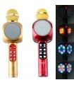 Безжичен блутут караоке микрофон с LED светлини