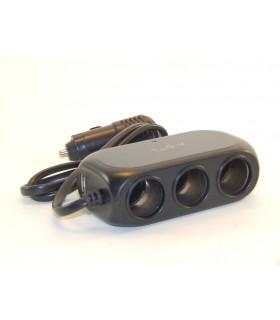 Троен разклонител за запалка с 2USB с кабел - модел D23 - 6