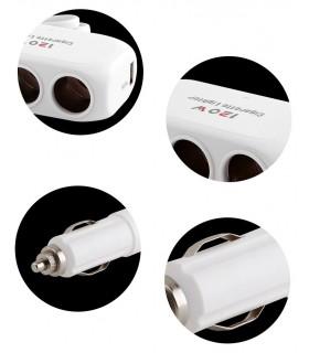Троен разклонител за запалка с 2USB с кабел - модел D23 - 7