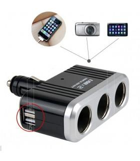 Троен разклонител за запалка с 2бр. USB и твърдо рамо