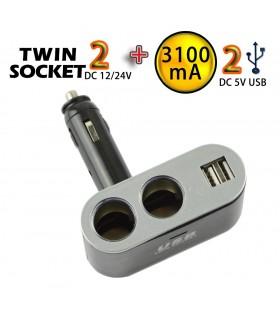 Двоен разклонител за автомобилна запалка с 2бр. USB - модел 01002 - 1