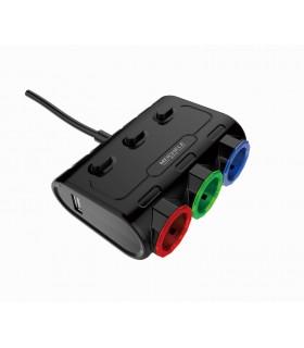 Волтметър с троен разклонител запалка за кола и 2бр. USB - 4