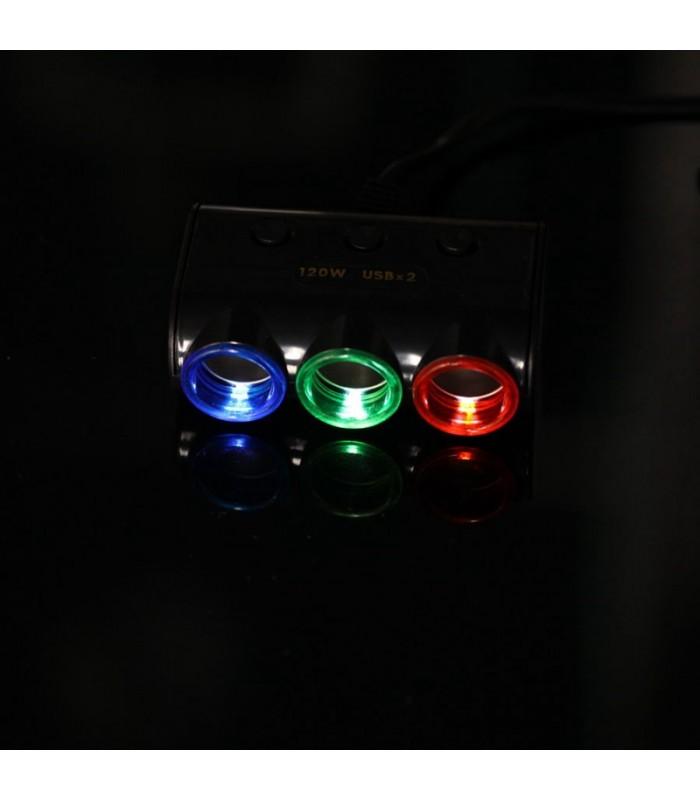 Волтметър с троен разклонител запалка за кола и 2бр. USB - 9