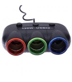 Волтметър с троен разклонител запалка за кола и 2бр. USB - 10