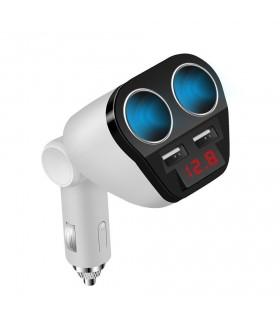 Волтметър в разклонител за запалка с 2 гнезда и 2бр. USB