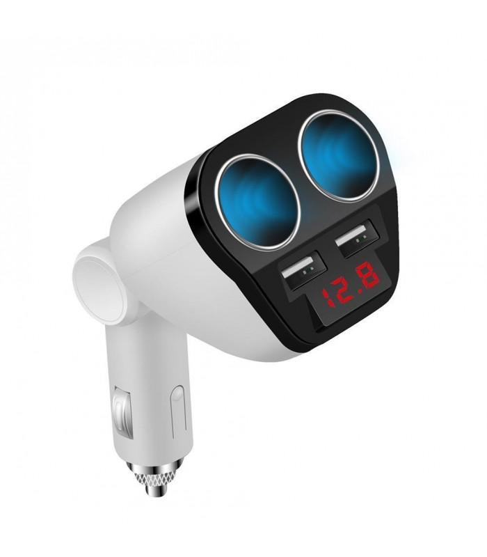 Волтметър в разклонител за запалка с 2 гнезда и 2бр. USB - 1