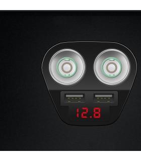 Волтметър в разклонител за запалка с 2 гнезда и 2бр. USB - 10