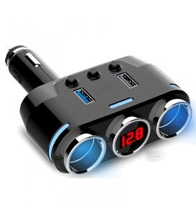 Волтметър за кола в 3-ка разклонител за запалка с 2бр. USB - модел B39