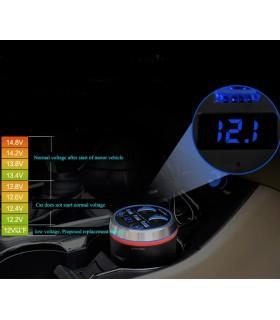 7 в 1 Волтметър, високоговорител, Bluetooth плейър, FM радио и разклонител за кола