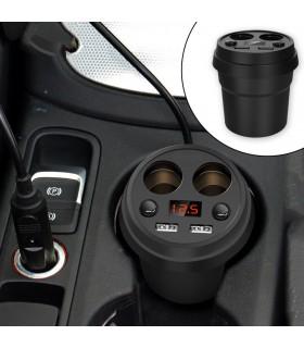 3 в 1 волтметър, разклонител и зарядно за кола в чашка