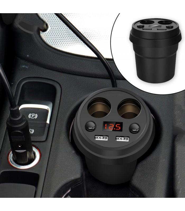 3 в 1 волтметър, разклонител и зарядно за кола в чашка - 1