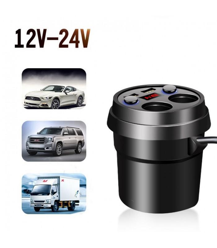 волтметър, разклонител и зарядно за кола в чашка