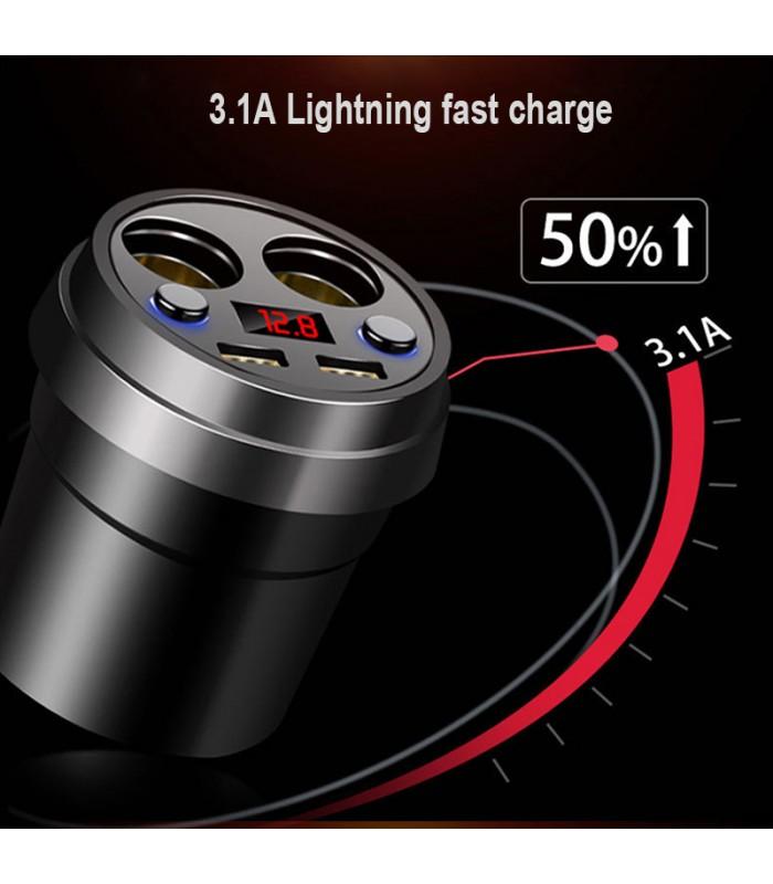 3 в 1 волтметър, разклонител и зарядно за кола в чашка - 2