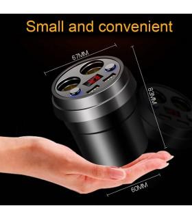 3 в 1 волтметър, разклонител и зарядно за кола в чашка - 5