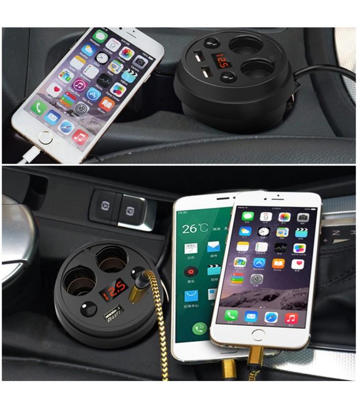 3 в 1 волтметър, разклонител и зарядно за кола в чашка - 4
