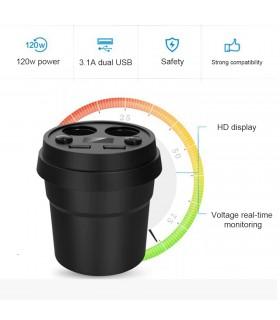3 в 1 волтметър, разклонител и зарядно за кола в чашка - 6