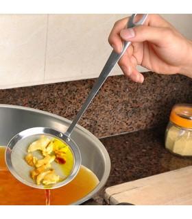 Стоманена решетъчна лъжица подходяща за пържене, за обиране на пяната при готвене, отцеждане