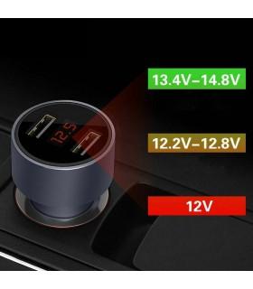 Кръгъл волтметър за автомобилна запалка с 2 USB - 1