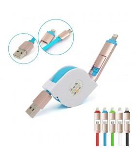 Телескопичен USB кабел 2в1 за адроид смартфони и Iphone 5