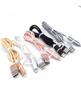 2 в 1 USB кабел-зарядно за Андроид и Iphone 1м. с текстилна оплетка - 6