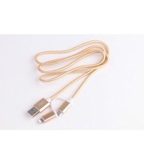2 в 1 USB кабел-зарядно за Андроид и Iphone 1м. с текстилна оплетка - 7