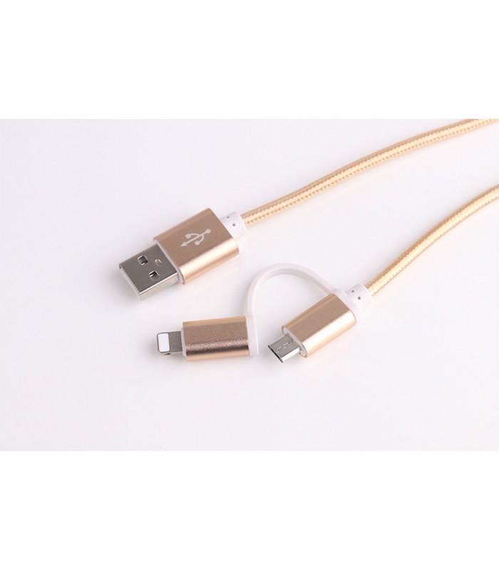 2 в 1 USB кабел-зарядно за Андроид и Iphone 1м. с текстилна оплетка - 8