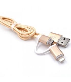 2 в 1 USB кабел-зарядно за Андроид и Iphone 1м. с текстилна оплетка