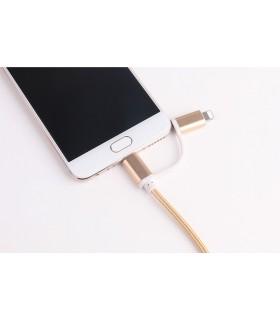 2 в 1 USB кабел-зарядно за Андроид и Iphone 1м. с текстилна оплетка - 5
