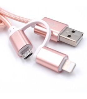 2 в 1 USB кабел-зарядно за Андроид и Iphone 1м. с текстилна оплетка - 9