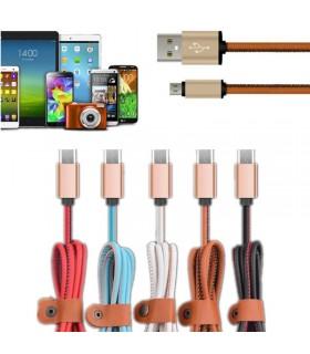 1 метър USB кабел за зареждане на телефон с кожено покритие - 2