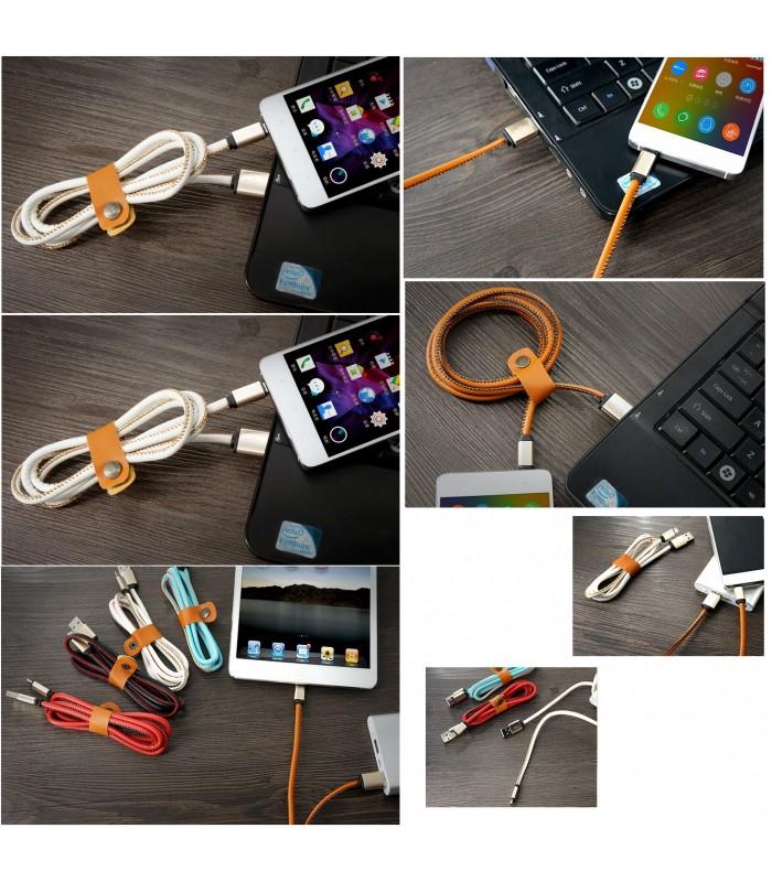 1 метър USB кабел за зареждане на телефон с кожено покритие - 3