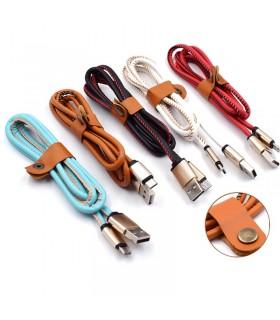 1 метър USB кабел за зареждане на телефон с кожено покритие - 1