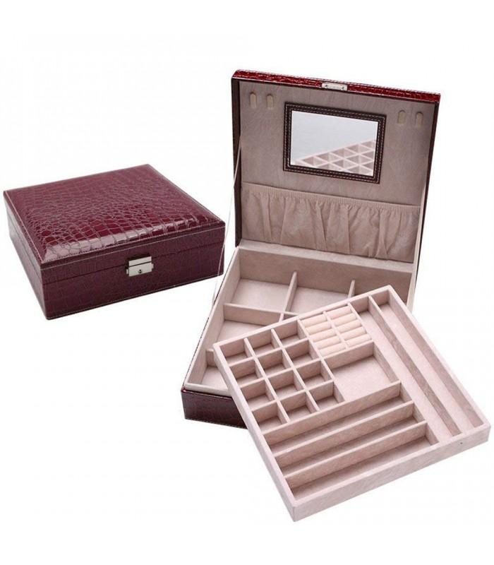 Кожена кутия за бижута с 2 нива - модел 2010 - 9