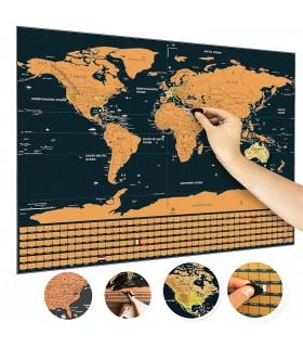 Скреч карта на света + знамената на държавите