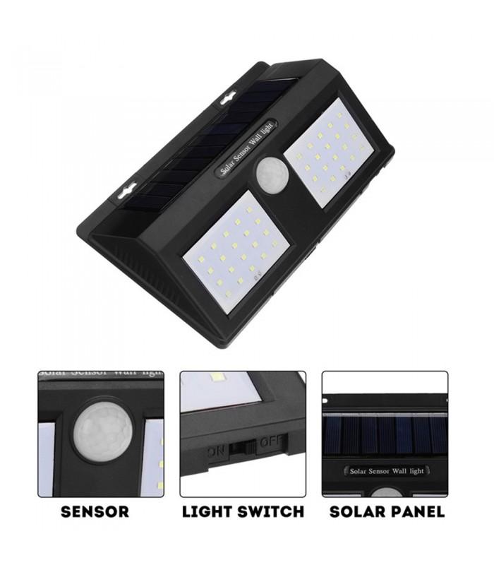 Водоустойчива външна соларна лампа с 40 диода и датчик за движение - 8