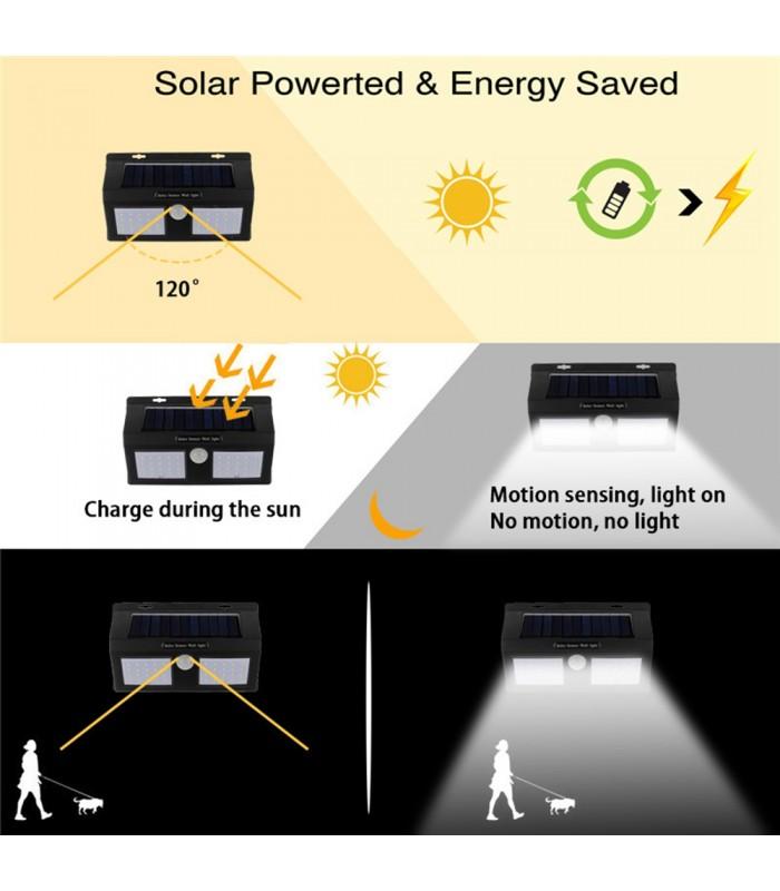 Водоустойчива външна соларна лампа с 40 диода и датчик за движение - 4