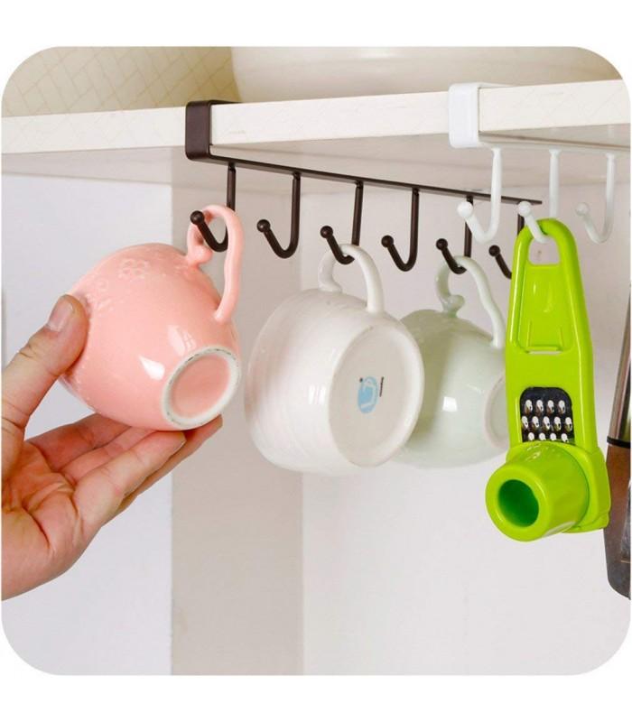 Кухненска закачалка за чаши и прибори - 6 куки - 2