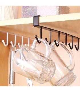 Кухненска закачалка за чаши и прибори - 6 куки - 5