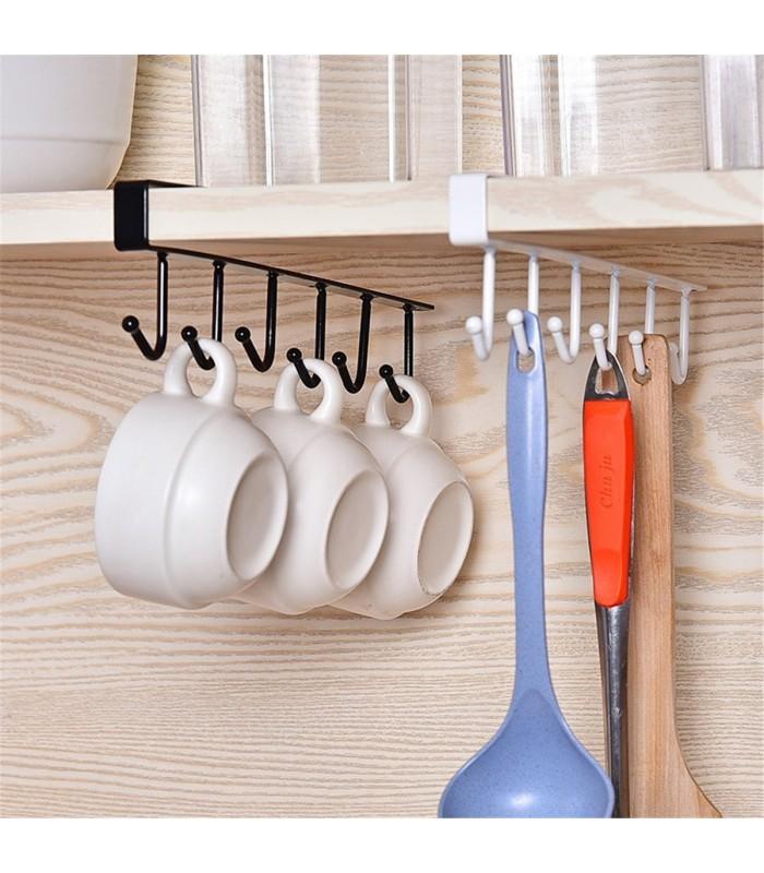 Кухненска закачалка за чаши и прибори - 6 куки - 6