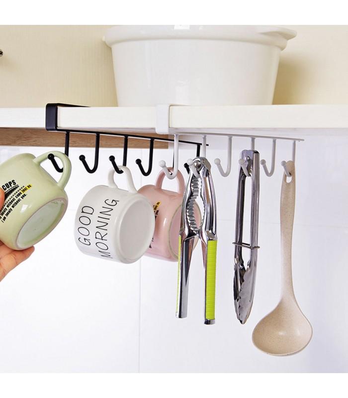 Кухненска закачалка за чаши и прибори - 6 куки - 1