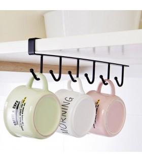Кухненска закачалка за чаши и прибори - 6 куки - 9